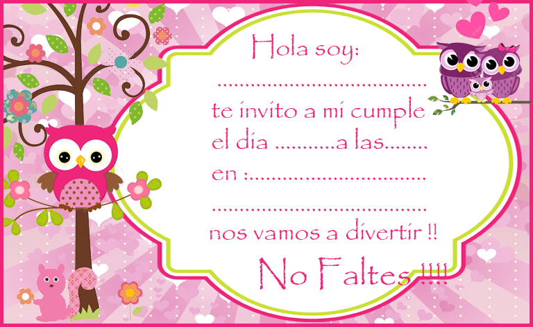 Kit imprimible candy bar Buhos Tiernos Nena para cumpleaños Candy Bar Gratis