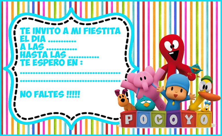 invitacion tarjetita candy bar pocoyo kit imprimible
