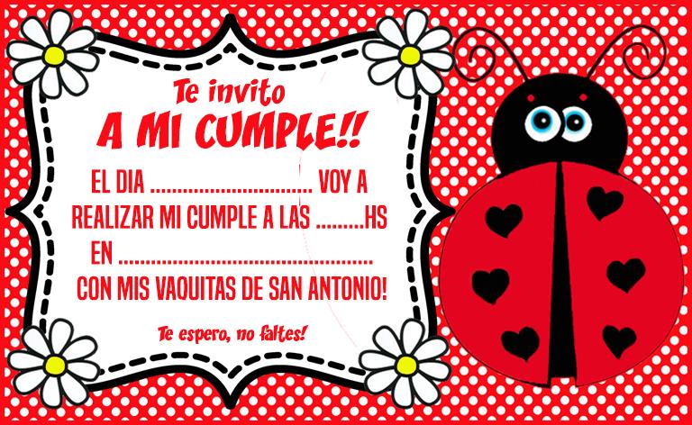 invitacion tarjetita vaquita de san antonio