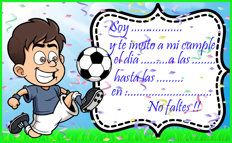 invitacion-tarjetita- candy bar futbol animado kit imprimible