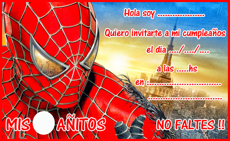invitacion-tarjetita-candy-bar SPIDERMAN kit-imprimible