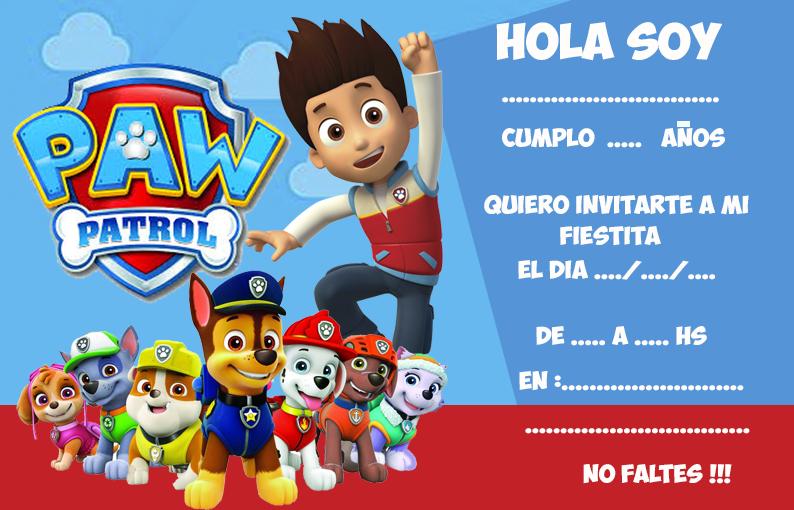 invitacion-tarjetita -candy ba paw patrol kit imprimible
