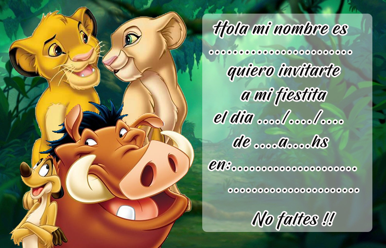 invitacion-tarjetita- candy bar el rey leon kit imprimible