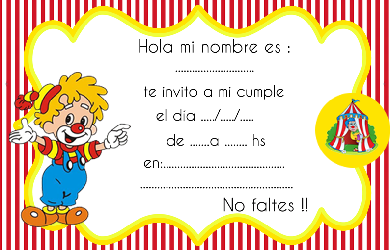 invitacion-tarjetita-candy bar payasito kit imprimible