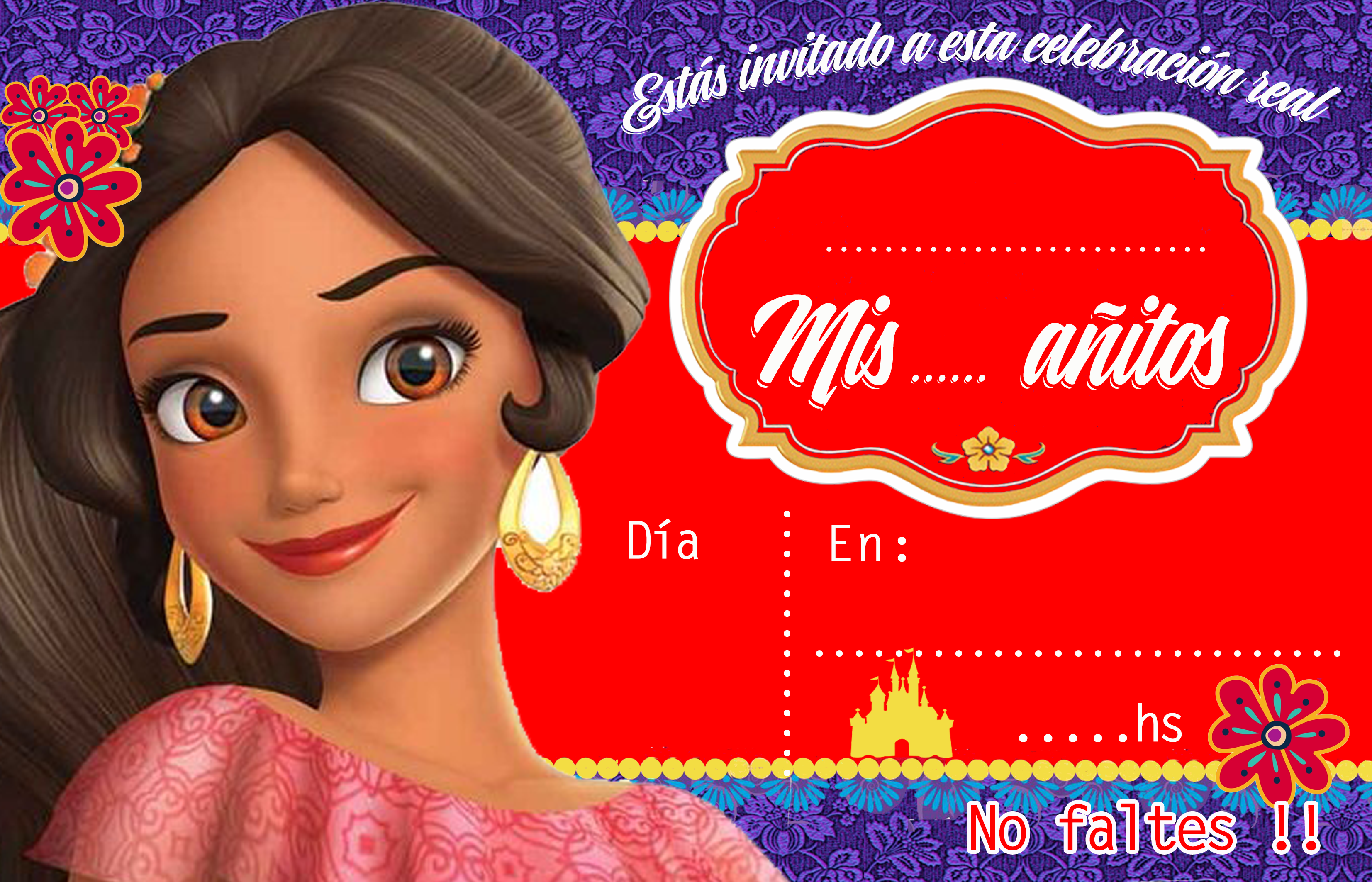 invitacion-tarjetita- candy bar elena de avalor kit imprimible