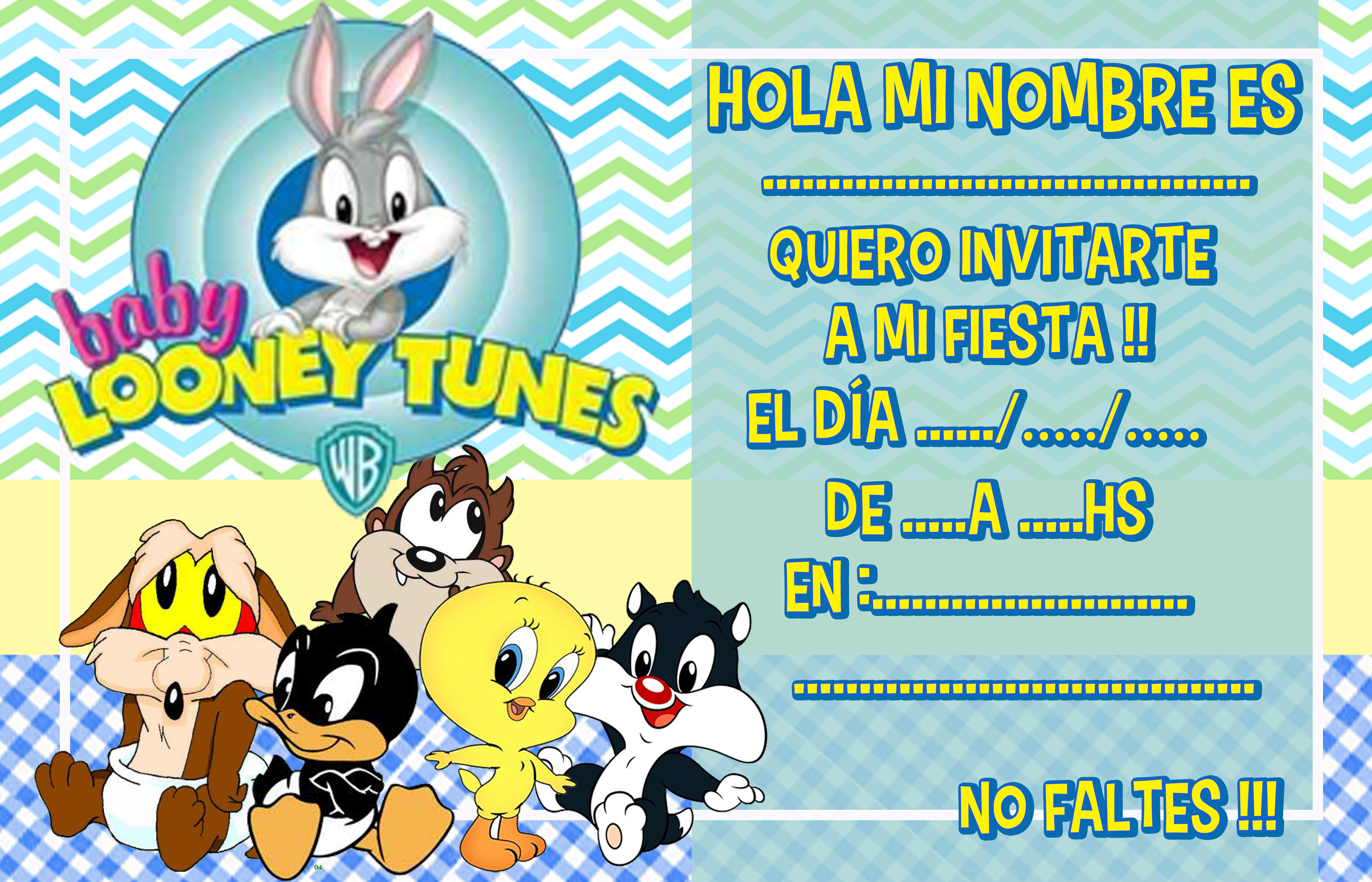 invitacion-tarjetita- -candy-bar baby looney toon kit-imprimible