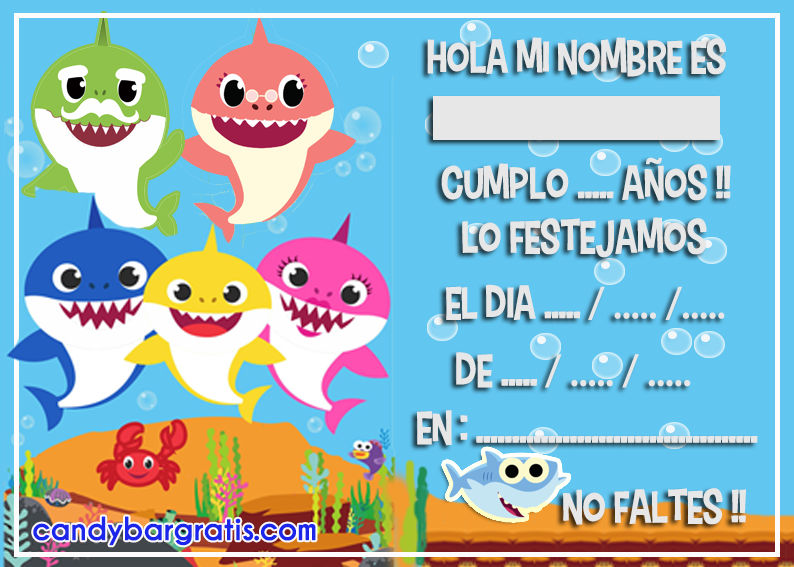 invitacion-tarjetita-candy-bar baby shark kit-imprimible