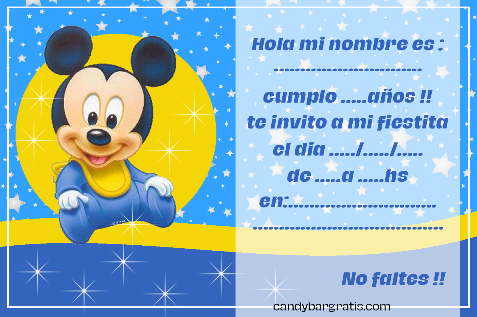 invitacion-tarjetita candy bar MICKEY BEBE FONDO ESTRELLAS kit imprimible