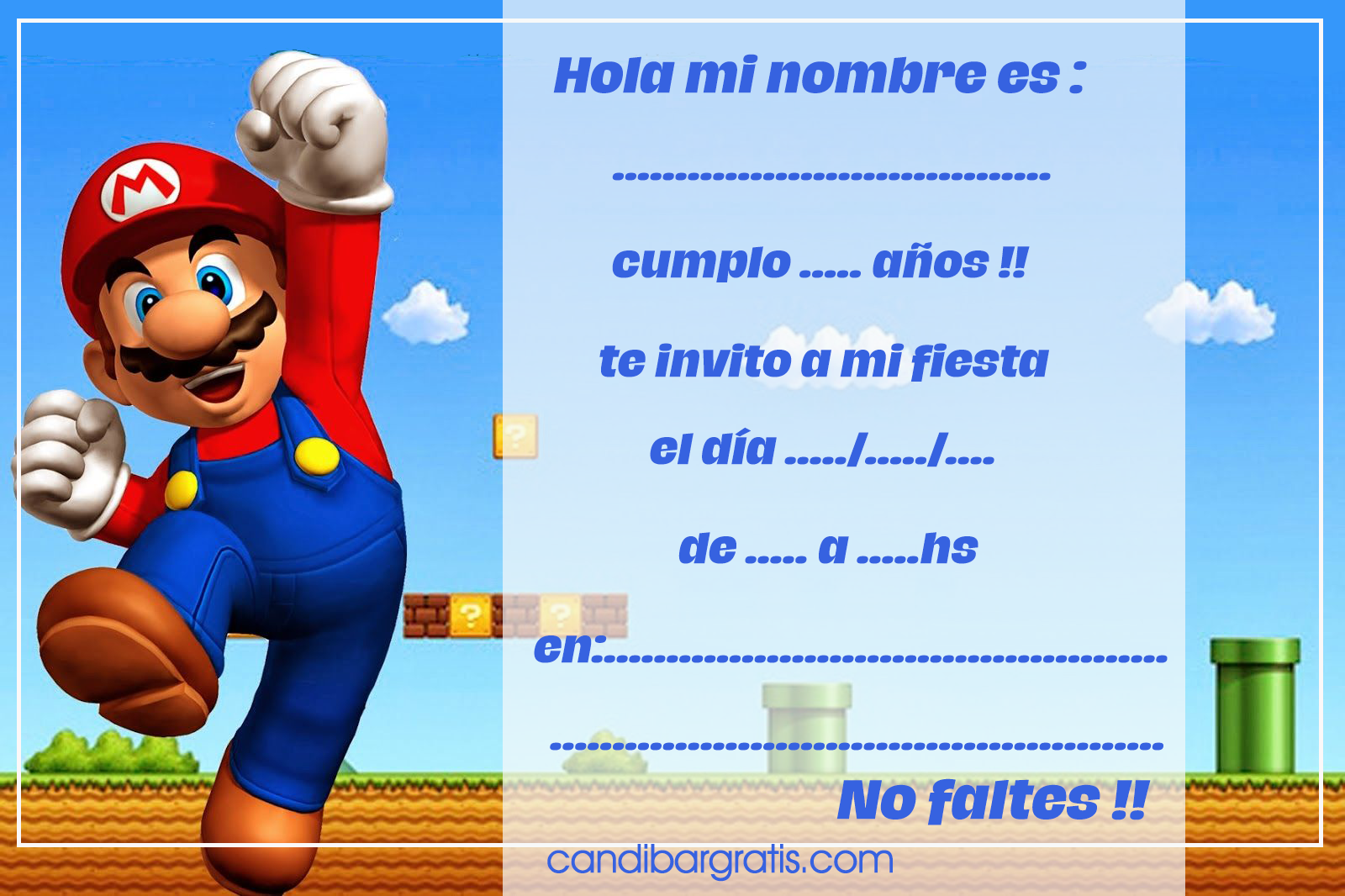 invitacion-tarjetita-candy-ba rMARIO BROS kit-imprimible