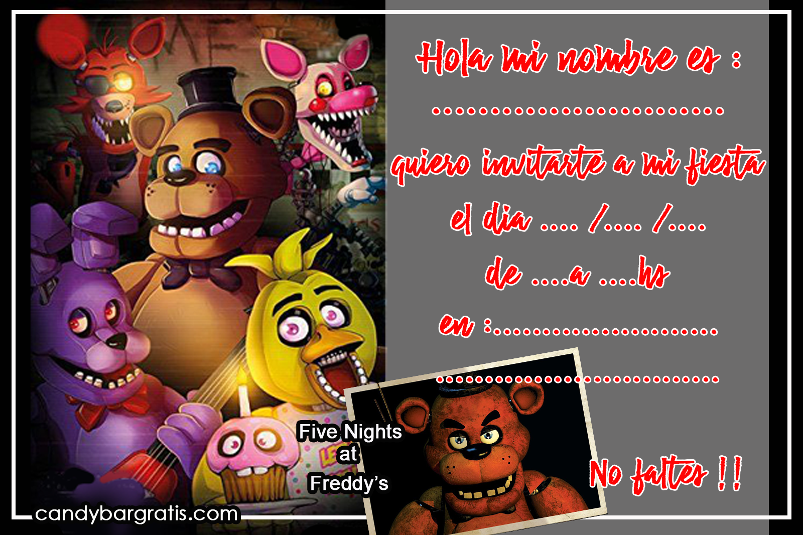 invitacion-tarjetita -candy bar Five nights at freedys kit imprimible