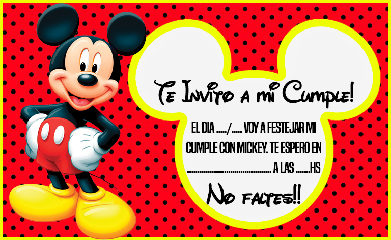 invitacion tarjetita mickey mouse