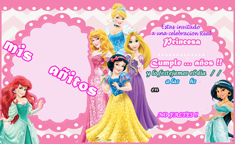 invitacion candy bar princesas disney kit imprimible