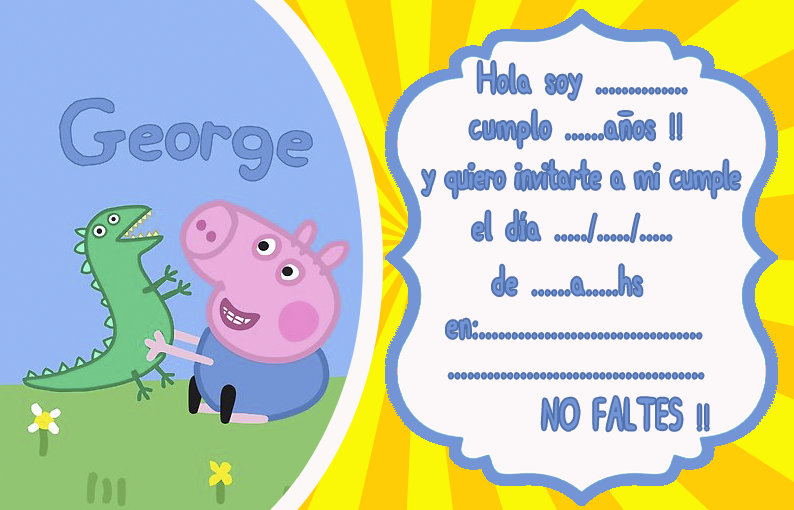 invitacion-tarjetita- -candy bar GEORGE PIG kit imprimible