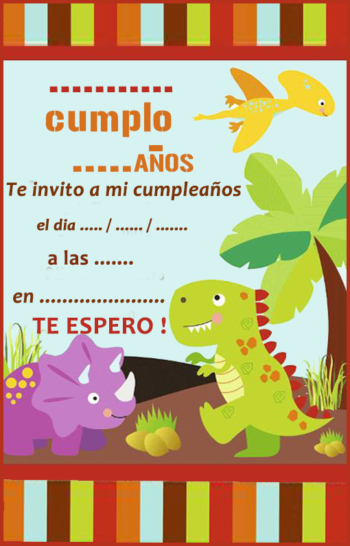 invitacion-tarjetita -candy bar dinosurios kit imprimible