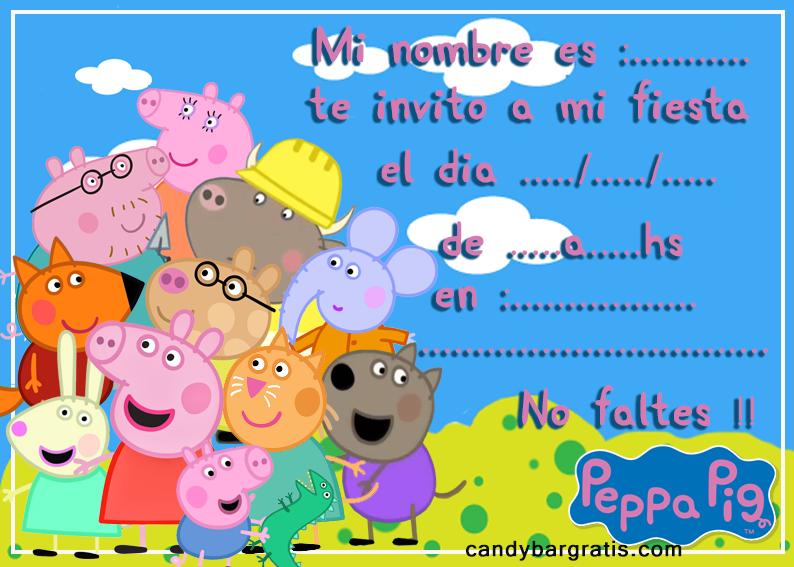 invitacion-tarjetita-candy-bar peppa pig y sus amigos kit-imprimible