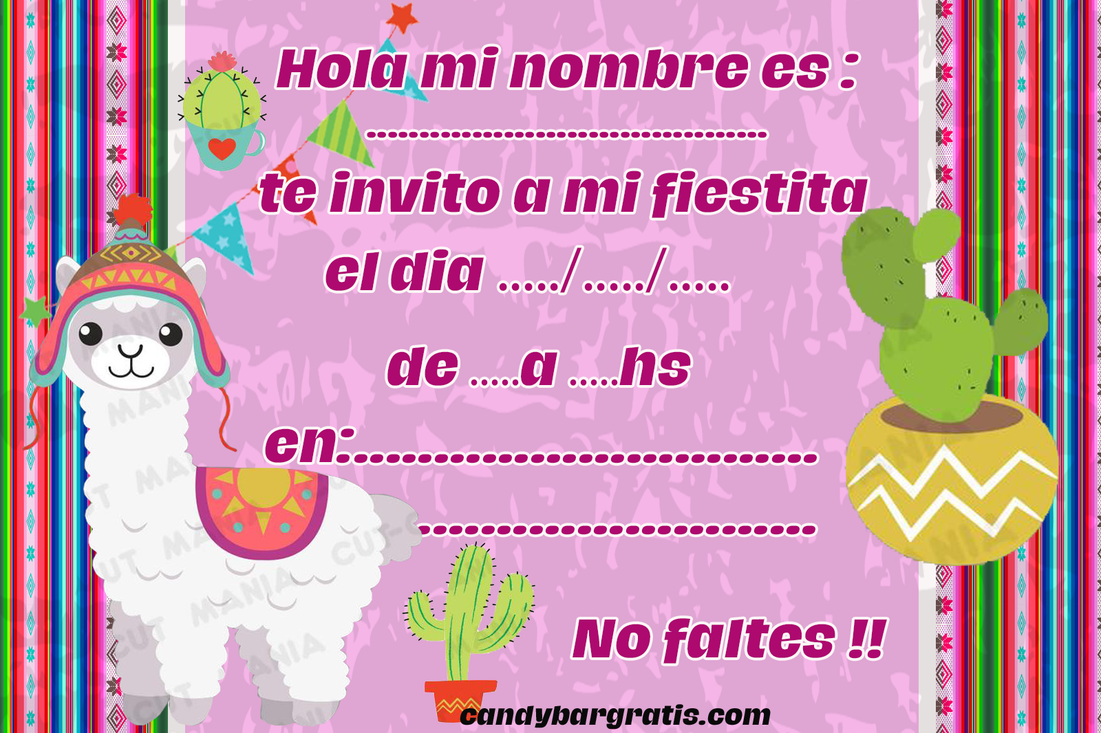 invitacion-tarjetita-candy-bar llamitas norteñas kit-imprimible