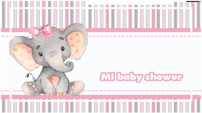 chocolatin pequeño-candy bar ELEFANTITA GRIS Y ROSA BABY SHOWER kit imprimible