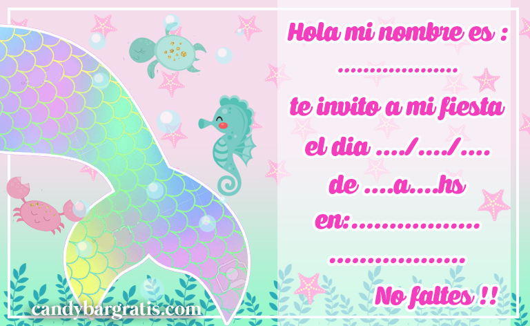 invitacion-tarjetita-candy bar COLA DE SIRENA kit imprimible